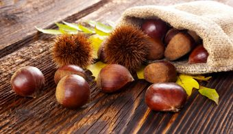 Autumn edible chestnuts in burlap bag on wooden rustic table. Fall background. FOTO: Eskymaks Getty Images/Istockphoto